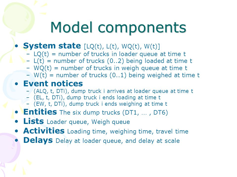 Model components System state [LQ(t), L(t), WQ(t), W(t)] Event notices